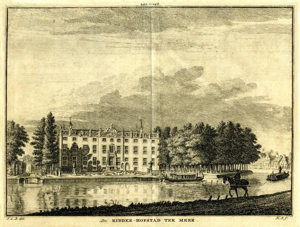 Huis te Meer in Maarssen. Tekening Jan de Beijer, gravure Hendrik Spilman (Uit: Het Verheerlykt Nederland, Isaac Tirion, 1745/1774)